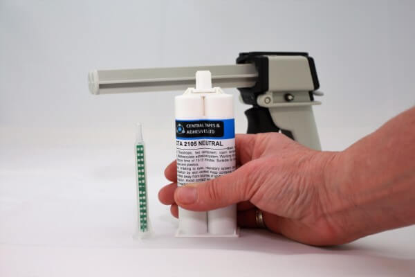 Trial kits for two part adhesives with applicator gun and nozzle - out of the box