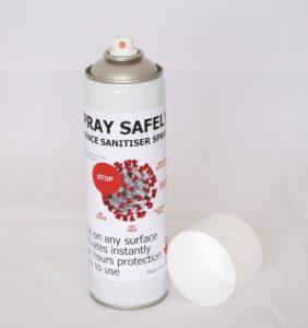SPRAY SAFELY surface sanitiser spray cans